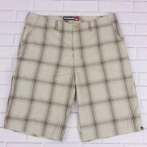 "Quiksilver 38 Bermuda Shorts 12"" Inseam Tan Plaid"